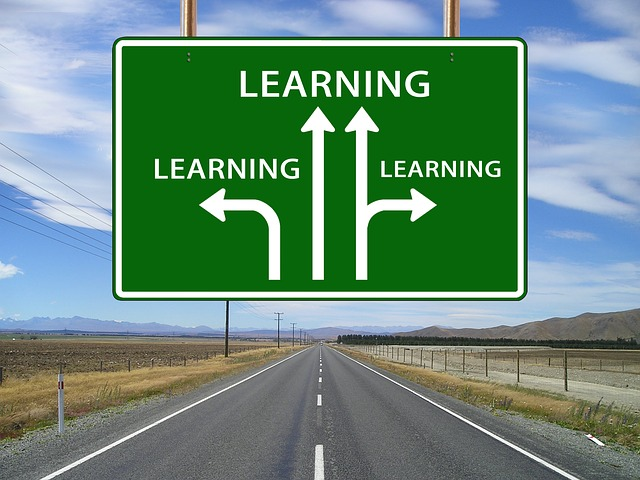 a roadsign with arrows pointing towards the word learning