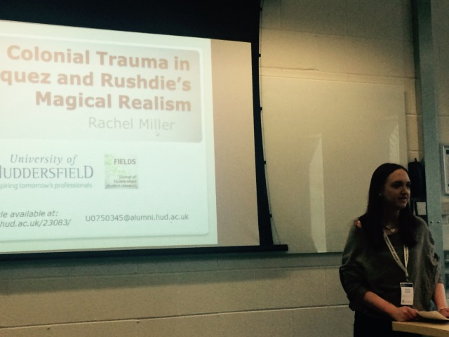 Rachel Miller presenting her research on magical realism