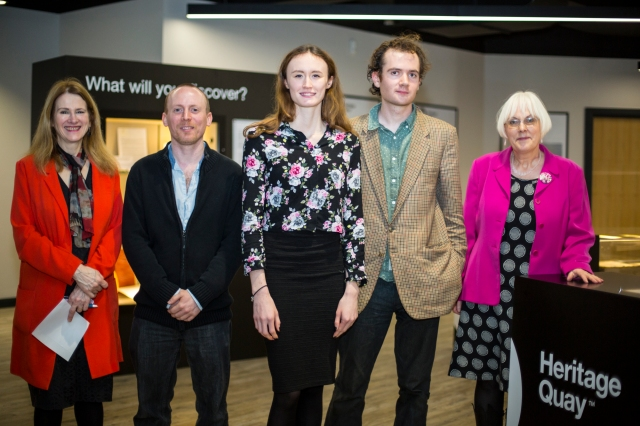Featured from left, Pro Vice-Chancellor Prof Christine Jarvis, James Fox, Beth O'Donnell, John Aulich and Fields editor Prof Janet Hargreaves.